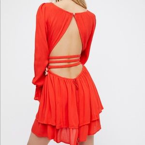 Free People Much Ado Mini Dress- Red
